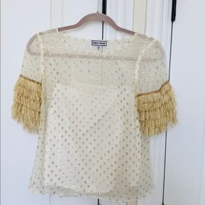 Silk Top with Golden Details Size 4